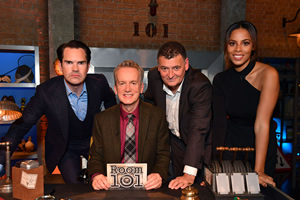 Room 101. Image shows from L to R: Jimmy Carr, Frank Skinner, Steven Moffat, Rochelle Humes. Copyright: Hat Trick Productions.