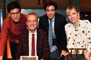 Room 101. Image shows from L to R: Phil Wang, Frank Skinner, Stephen Mangan, Holly Walsh. Copyright: Hat Trick Productions.