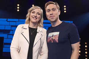 The Russell Howard Hour. Image shows from L to R: Carole Cadwalladr, Russell Howard. Copyright: Avalon Television.