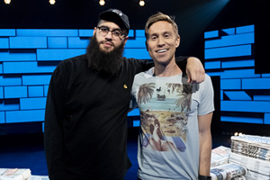 The Russell Howard Hour. Image shows from L to R: Jamali Maddix, Russell Howard. Copyright: Avalon Television.