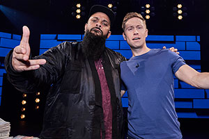 The Russell Howard Hour. Image shows from L to R: Guz Khan, Russell Howard. Copyright: Avalon Television.