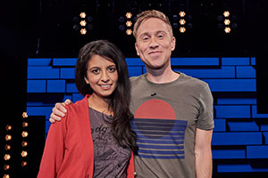 The Russell Howard Hour. Image shows from L to R: Konnie Huq, Russell Howard. Copyright: Avalon Television.