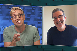 The Russell Howard Hour. Image shows from L to R: Russell Howard, John Oliver. Copyright: Avalon Television.