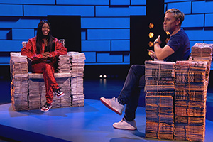 The Russell Howard Hour. Image shows from L to R: Lady Leshurr, Russell Howard. Copyright: Avalon Television.
