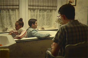 Sex Education. Image shows from L to R: Kate (Olivia Gray), Sam (Jonny Amies), Otis Milburn (Asa Butterfield). Copyright: Eleven Film.