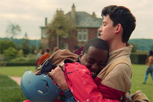 Sex Education. Image shows from L to R: Eric (Ncuti Gatwa), Otis Milburn (Asa Butterfield). Copyright: Eleven Film.