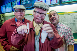 Still Game. Image shows from L to R: Walter Ingram (Gary Miller), Winston Ingram (Paul Riley), Stevie the Bookie (Matt Costello). Copyright: The Comedy Unit.