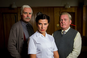 Still Game. Image shows from L to R: Victor McDade (Greg Hemphill), Mrs Fletcher (Ronni Ancona), Jack Jarvis (Ford Kiernan).