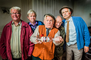 Still Game. Image shows from L to R: Winston Ingram (Paul Riley), Tam Mullen (Mark Cox), Jack Jarvis (Ford Kiernan), Shug (Paul Young), Victor McDade (Greg Hemphill).
