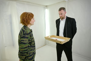 Taskmaster. Image shows from L to R: Alice Levine, Alex Horne. Copyright: Avalon Television.