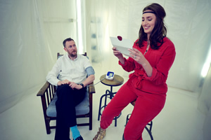 Taskmaster. Image shows from L to R: Alex Horne, Jessica Knappett. Copyright: Avalon Television.
