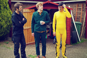 Taskmaster. Image shows from L to R: Rhod Gilbert, James Acaster, Phil Wang. Copyright: Avalon Television.
