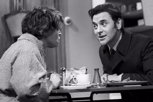 The Galton & Simpson Comedy. Image shows from L to R: Joyce Gosling (Patricia Hayes), George Gosling (Bob Monkhouse). Copyright: London Weekend Television.