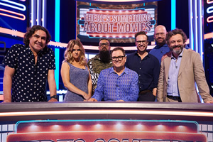 There's Something About Movies. Image shows from L to R: Micky Flanagan, Alice Eve, Guz Khan, Alan Carr, Rafe Spall, Tom Davis, Michael Sheen.