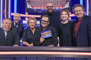 There's Something About Movies. Image shows from L to R: Warwick Davis, Tom Allen, Jennifer Saunders, Alan Carr, Tom Davis, Alice Levine, Michael Sheen.