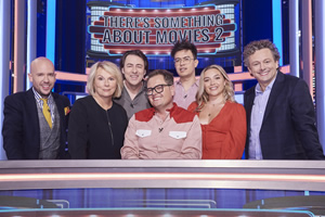 There's Something About Movies. Image shows from L to R: Tom Allen, Jennifer Saunders, Jonathan Ross, Alan Carr, Phil Wang, Florence Pugh, Michael Sheen.