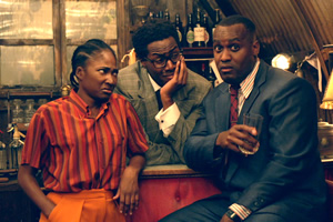 Timewasters. Image shows from L to R: Lauren (Adelayo Adedayo), Nick (Daniel Lawrence Taylor), Jason (Kadiff Kirwan). Copyright: Big Talk Productions.