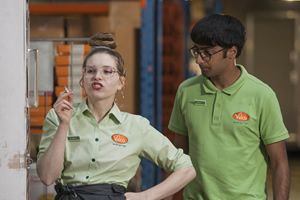 Trollied. Image shows from L to R: Heather (Jessie Cave), Shai (Nikhil Parmar). Copyright: Roughcut Television.