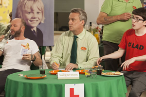 Trollied. Image shows from L to R: Colin (Carl Rice), Brian (Stephen Tompkinson), Harry (Jack Carroll). Copyright: Roughcut Television.