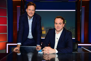 Unspun With Matt Forde. Image shows from L to R: Nick Clegg, Matt Forde. Copyright: Avalon Television.