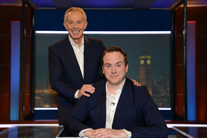 Unspun With Matt Forde. Image shows from L to R: Tony Blair, Matt Forde. Copyright: Avalon Television.