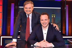 Unspun With Matt Forde. Image shows from L to R: John Woodcock, Matt Forde. Copyright: Avalon Television.