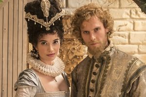 Upstart Crow. Image shows from L to R: Silvia (Margaret Clunie), Valentine (Jack Fox). Copyright: BBC.