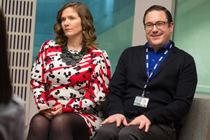 W1A. Image shows from L to R: Siobhan Sharpe (Jessica Hynes), David Wilkes (Rufus Jones). Copyright: BBC.