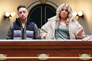 Waiting. Image shows from L to R: Ryan Sampson, Harriet Webb. Copyright: Comedy Central.