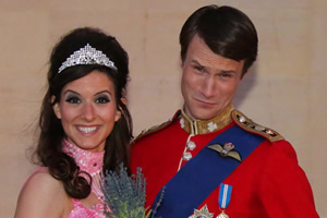 The Windsors. Image shows from L to R: Kate (Louise Ford), Wills (Hugh Skinner).