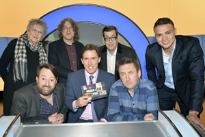 Would I Lie To You?. Image shows from L to R: Germaine Greer, David Mitchell, Alan Davies, Rob Brydon, Richard Osman, Lee Mack, Jermaine Jenas. Copyright: Zeppotron.