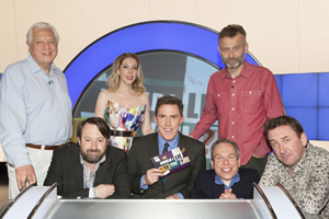 Would I Lie To You?. Image shows from L to R: John Simpson, David Mitchell, Katherine Ryan, Rob Brydon, Warwick Davis, Hugh Dennis, Lee Mack. Copyright: Zeppotron.