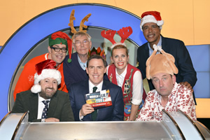 Would I Lie To You?. Image shows from L to R: David Mitchell, Richard Osman, Tom Courtenay, Rob Brydon, Sara Pascoe, Chris Kamara, Lee Mack. Copyright: Zeppotron.