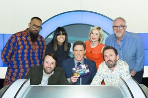 Would I Lie To You?. Image shows from L to R: Guz Khan, David Mitchell, Claudia Winkleman, Rob Brydon, Lucy Worsley, Lee Mack, Greg Davies. Copyright: Zeppotron.