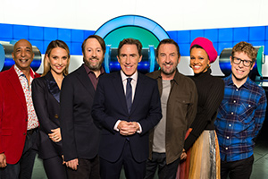 Would I Lie To You?. Image shows from L to R: Raj Bisram, Sophie Hermann, David Mitchell, Rob Brydon, Lee Mack, Gemma Cairney, Josh Widdicombe. Copyright: Zeppotron.
