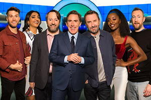 Would I Lie To You?. Image shows from L to R: Joel Dommett, Sindhu Vee, David Mitchell, Rob Brydon, Lee Mack, AJ Odudu, Alex Horne. Copyright: Zeppotron.