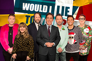 Would I Lie To You?. Image shows from L to R: Joe Lycett, Ruth Madeley, David Mitchell, Rob Brydon, Lee Mack, Joe Swash, Jo Brand. Copyright: Zeppotron.