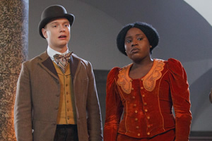 Year Of The Rabbit. Image shows from L to R: Wilbur Strauss (Freddie Fox), Mabel Wisbech (Susan Wokoma). Copyright: Objective Productions.