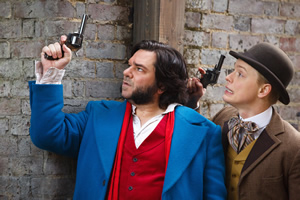 Year Of The Rabbit. Image shows from L to R: Detective Inspector Rabbit (Matt Berry), Wilbur Strauss (Freddie Fox). Copyright: Objective Productions.