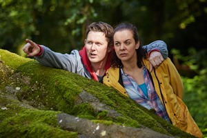 The Young Offenders. Image shows from L to R: Billy Murphy (Shane Casey), Mairead MacSweeney (Hilary Rose).