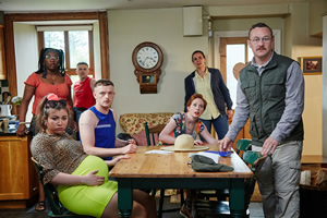 The Young Offenders. Image shows from L to R: Linda Walsh (Demi Isaac Oviawe), Siobhan Walsh (Jennifer Barry), Conor MacSweeney (Alex Murphy), Jock O'Keeffe (Chris Walley), Orla Walsh (Orla Fitzgerald), Mairead MacSweeney (Hilary Rose), Principal Barry Walsh (PJ Gallagher).