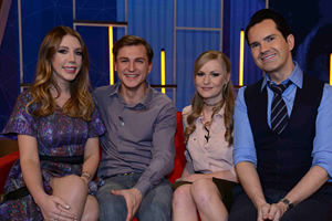 Your Face Or Mine. Image shows from L to R: Katherine Ryan, Unknown, Unknown, Jimmy Carr. Copyright: Talkback.