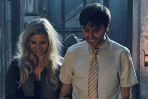 Zapped. Image shows from L to R: Effandra (Miranda Hennessy), Brian (James Buckley).