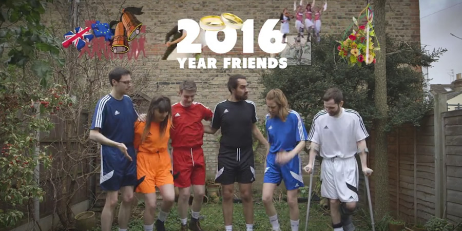 2016: Year Friends. Image shows from L to R: Al (Al Roberts), Tash (Natasia Demetriou), Jonno (Daran Johnson), Jamie (Jamie Demetriou), Ellie (Ellie White), Liam (Liam Williams).