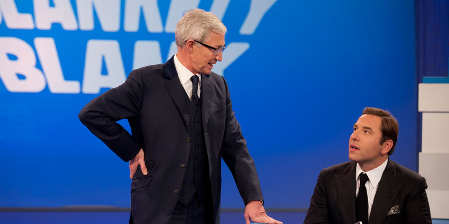 24 Hour Panel People. Image shows from L to R: Paul O'Grady, David Walliams. Copyright: BBC.