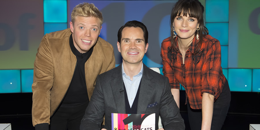 8 Out Of 10 Cats. Image shows from L to R: Rob Beckett, Jimmy Carr, Aisling Bea. Copyright: Zeppotron.