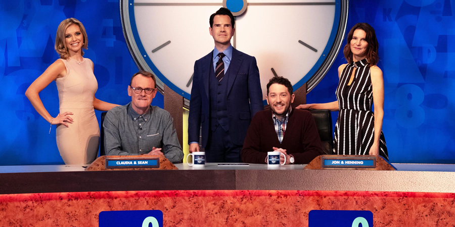 8 Out Of 10 Cats Does Countdown. Image shows from L to R: Rachel Riley, Sean Lock, Jimmy Carr, Jon Richardson, Susie Dent. Copyright: Zeppotron.