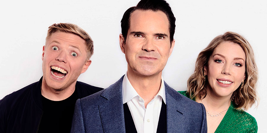 8 Out Of 10 Cats. Image shows from L to R: Rob Beckett, Jimmy Carr, Katherine Ryan. Copyright: Zeppotron.