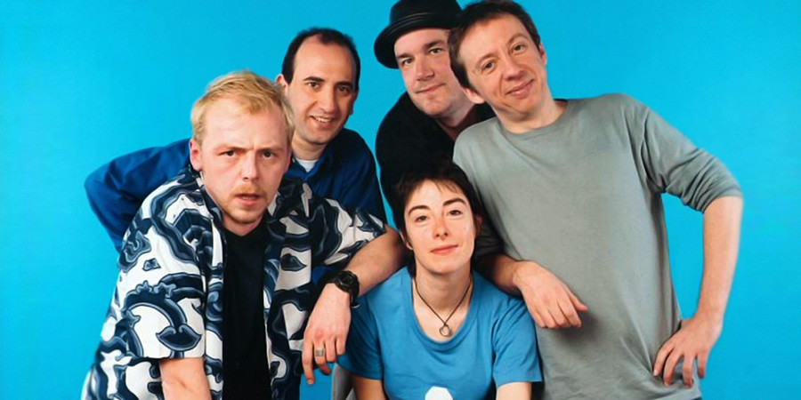 The 99p Challenge. Image shows from L to R: Simon Pegg, Armando Iannucci, Sue Perkins, Jack Docherty, Peter Baynham. Copyright: Pozzitive Productions.