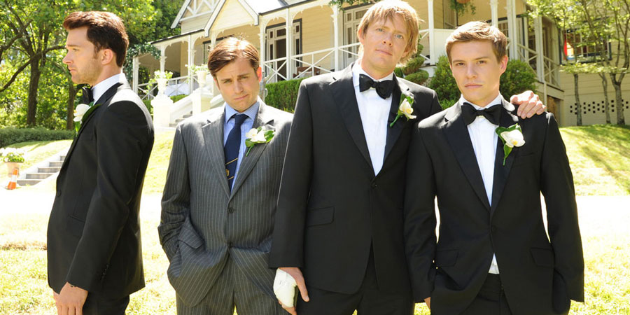 A Few Best Men. Image shows from L to R: Luke (Tim Draxl), Graham (Kevin Bishop), Tom (Kris Marshall), David (Xavier Samuel).